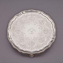 George III Silver Circular Salver, Ebenezer Coker, London, 1773, diameter 11.1