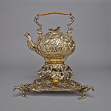 George III Silver-Gilt Tea Kettle on Lampstand with Tray, Edward Farrell, London, 1817, height 16.9
