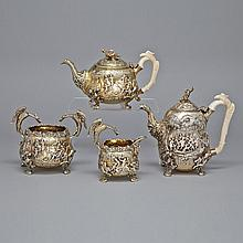 George III Silver-Gilt Tea and Coffee Service, Edward Farrell, London, 1816, height 9.3