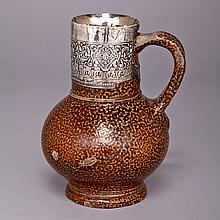Elizabeth I Silver Mounted 'Tigerware' Jug, c.1580, height 6.6