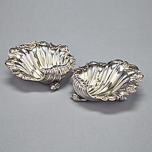 Pair of George IV Silver Shell Salts, John Edward Terry, London, 1825, width 4.3