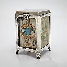 Edwardian Silver Playing Card Box, Birmingham, 1903, height 9.1