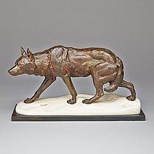 Charles Valton (French 1851-1918), TRACKING WOLF, 7.5