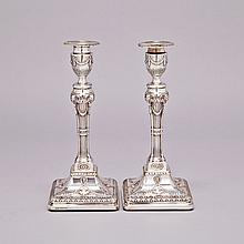 Pair of Victorian Silver Table Candlesticks. Hawkesworth, Eyre & Co., Sheffield, 1890, height 11.8