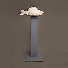 FRANK GEHRY, FISH LAMP, 1984, formica, glass, wire, and painted wood, height 72 ins; 182.9 cms