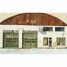 JOHN WEBSTER, DESERTED GARAGE, WATERCOLOUR; SIGNED, Sight 13.25