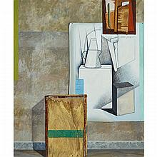 ROBERT YOUNG (1938 - ), TEA CHEST WITH TRAVELLER AND MODERN ART, OIL ON CANVAS; SIGNED AND DATED 87; TITLED VERSO, 60