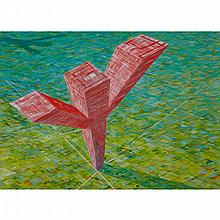 ED RADFORD (1953 - ), THERE SPROUTED FROM THE PRAIRIE, OIL ON CANVAS; SIGNED AND DATED '87 LOWER RIGHT; TITLED TO LABEL VERSO, 37.5