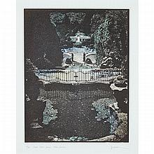 JENNIFER JOAN DICKSON (1936 - ), R.A., SECRET WATER GAMES, VILLA GARZONI, 1986, HAND TINTED PHOTO ETCHING; SIGNED, TITLED AND NUMBERED 10/30, sight 13.75