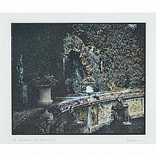 JENNIFER JOAN DICKSON (1936 - ), R.A., NYMPHEUM: VILLA RENTE DI MARLIA, HAND TINTED PHOTO ETCHING; SIGNED, TITLED AND NUMBERED 28/30 IN PENCIL TO BOTTOM MARGIN, Image 9.75