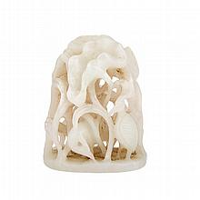 Reticulated White Jade Censer Finial, ???????, height 2.4