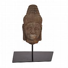 Sandstone Head of Buddha, Thailand or Khmer (Lopburi Style), 11th Century, 11?? ?????? ????, height 8.9