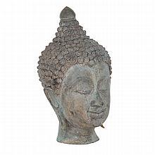 Bronze Head of Buddha, Lanna Style, Thailand, Early 20th Century, 20???? ?????, height 11.4