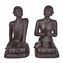 A Rare Pair of Burmese Monks, Late 19th Century, 19???? ????????, height 25