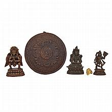 Five Himalayan Bronzes, 19th and 20th Century, 19?20?? ???????????, height 3
