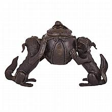 Bronze Censer Supported by Two Lions, Late Ming to Early Qing Dynasty, ???? ????, height 6.3