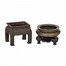 Bronze Censer with Carved Stand together with Four-Footed Bronze Censer, ?????, tallest height 3.8