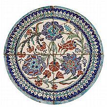 A Rare Circular Panel of Four Polychrome Iznik Tiles, Turkey, 16th/17th Century, ??/???? ?????? (4 Pieces)