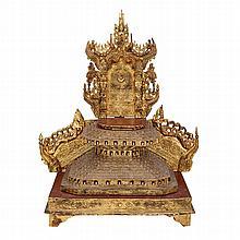 Gilt Burmese Wooden Shrine with Bone Inlays, 18th/19th Century, 18/19?? ??????????, height 32.3