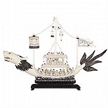 LARGE CARVED IVORY DRAGON SHIP, CIRCA 1940
