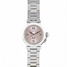 Cartier Pasha Grande Date Wristwatch, circa 2000; reference #2475; case #101740PB; 35mm; 21 jewel cal. 052 automatic wind movement; pink dial; in a stainless steel case with a stainless steel link strap and concealed clasp