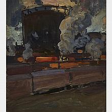 JAMES EDWARD HERVEY MACDONALD, O.S.A., R.C.A., FREIGHT YARD, TORONTO, oil on board, 6 ins x 5.5 ins; 15.2 cms x 12.7 cms