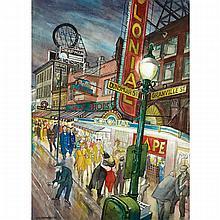 JACK LEONARD SHADBOLT, R.C.A., GRANVILLE STREET AT NIGHT (EVENING, GRANVILLE STREET; GRANVILLE STREET, WARTIME), 1946, watercolour, 31 ins x 23 ins; 78.7 cms x 58.4 cms