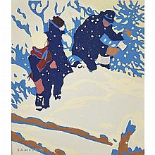 Joseph Ernest Sampson (1887-1946), CUTTING THE CHRISTMAS TREE, 1931 (FROM COUTTS PAINTERS OF CANADA SERIES), Colour silkscreen on wove paper; signed in the plate lower left, titled to the accompanying typed exhibition label from the