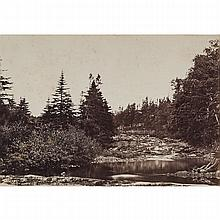 Attributed to S.H. Parsons and Sons (1844-1908), ST. JOHN'S NEWFOUNDLAND (MAN SEATED AT THE FOOT OF A FALLS); (MAN SEATED ON A SHORELINE) (2 VIEWS), Two albumen prints each dry mounted to hand-ruled support cards; each titled in pencil to the mounts,