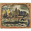 After John Marin (1870-1953), MANHATTAN SKYLINE, CIRCA 1949, Colour screen print; signed and dated 21 in the plate lower right. Published by Living Artist's Group, circa 1949., 22
