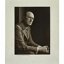 John Raffles Cox (1887-1977), ARCTIC VIEWS OF AN EXPLORER, C. 1913 - C. 1920 INCLUDING:, YOUSUF KARSH (1908-2002), Canadian, PORTRAIT OF JOHN RAFFLES COX, Gelatin silver print; signed in ink, in original Karsh folding matboard;Vintage photograph;