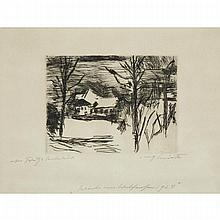 Lovis Corinth (1858-1925), WINTER AM WALCHENSEE (HOTEL FISCHER AM SEE), 1924 [MULLER, 858], Drypoint on paper; signed, dated and inscribed 1924 indistinctly in German in pencil to margin. Printed by Arthur Rogall, published by Ernst Arnold., Plate