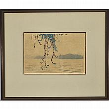 Walter Joseph Phillips (1884-1963), SMOKE HAZE, LAKE OF THE WOODS, 1935 [MBL212], Colour woodcut on japon paper; signed in pencil to margin, titled to label verso. Executed in an edition of 100 (a further 100 were issued in 1936) for a total edition