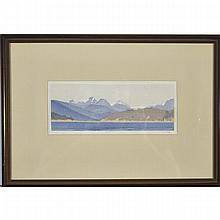Walter Joseph Phillips (1884-1963), AGAMEMNON CHANNEL, B.C., 1936 [MBL215], Colour woodcut on japon paper; signed in pencil to margin, titled to label verso. Printed in an edition of 200., Plate 3.25