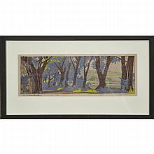 Walter Joseph Phillips (1884-1963), WILLOW DRIVE, MADISON, 1920 [MBL53], Colour woodcut on paper; signed, numbered 1/50 and annotated