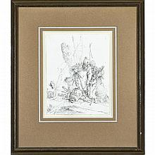 Giovanni Battista Tiepolo (1696-1770), LES DEUX MAGICIENS DEBOUT ET L'ENFANT (PLATE 13 FROM THE SCHERZI DI FANTASIA SUITE OF 23 ETCHINGS) [DE VESME, 25, STATE I (OF II), Etching on laid paper. Published by Tiepolo's son Gian Domenico in 1775., Sheet