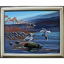EDWARD (EDDY) COBINESS (NATIVE CANADIAN, 1933-1996), HERRING GULLS, ACRYLIC ON CANVAS BOARD; SIGNED AND DATED '85 LOWER RIGHT, 14