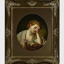 After Jean-Baptiste Greuze (1725-1805), A GIRL WITH  A DEAD CANARY, 1765, 21.5