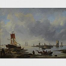 Louis Charles Verboeckhoven (1802-1889), COASTAL SCENE WITH MEN IN FISHING BOATS, 17