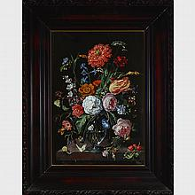Manner of Jacob van Walscapelle (1644-1727), GLASS VASE WITH PARROT TULIP, MORNING GLORIES, PANSY AND OTHER FLOWERS WITH WHEAT STALKS, BUTTERFLIES, SNAILS, CATERPILLARS, BUGS AND OTHER INSECTS ON A STONE LEDGE WITH CHERRIES AND BEES, 20.75