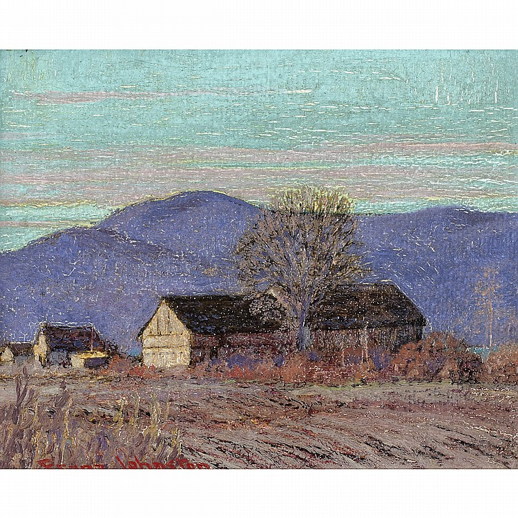 FRANK HANS JOHNSTON, O.S.A., A.R.C.A.IN THE LAURENTIANS, oil on board; signed 8 ins x 10 ins; 20 cms x 25 cms