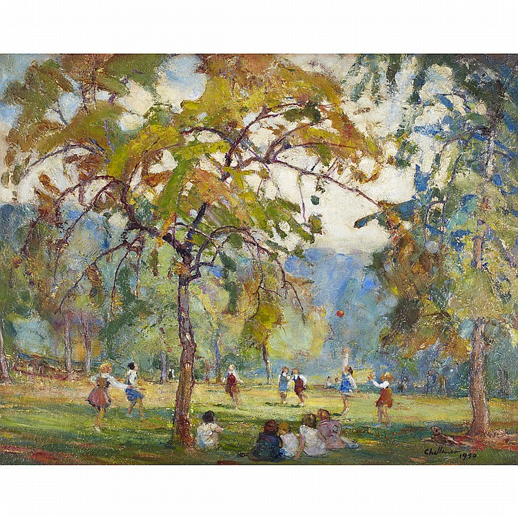 FREDERICK SPROSTON CHALLENER, O.S.A., R.C.A.GIRLS AT PLAY, QUEEN'S PARK, TORONTO, oil on board; signed and dated 1950 16 ins x 20 ins; 40 cms x 50 cms  Exhibited: 79th Annual Exhibition, The Ontario Society of Artists, March, 1951.