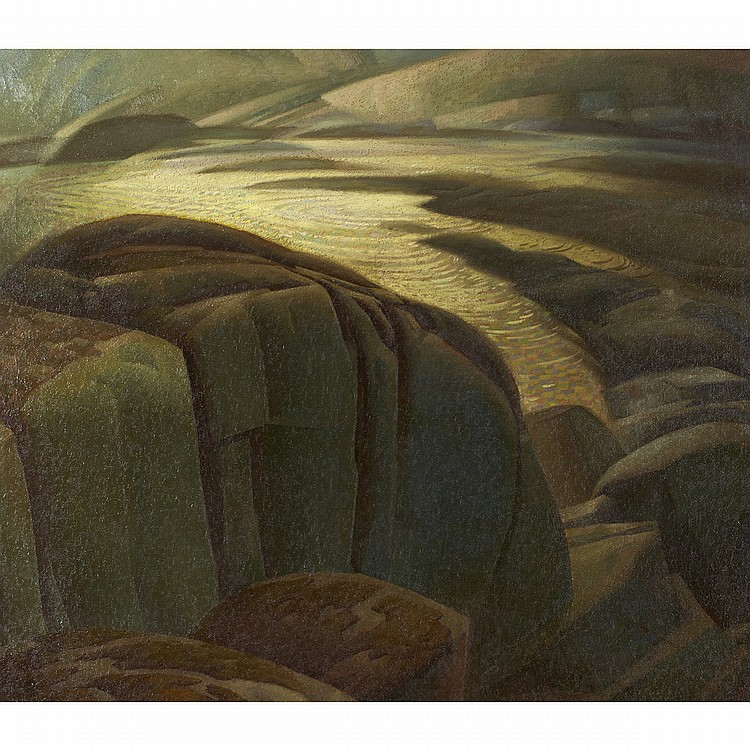 LAWRENCE ARTHUR COLLEY PANTON, O.S.A., R.C.A.GRAY DAY, oil on canvas; signed 34 ins x 40 ins; 85 cms x 100 cms Provenance: Roberts Gallery, Toronto.Private Collection, Toronto.Literature: Joyner Waddington's Canadian Fine Art, auction, Toronto, May