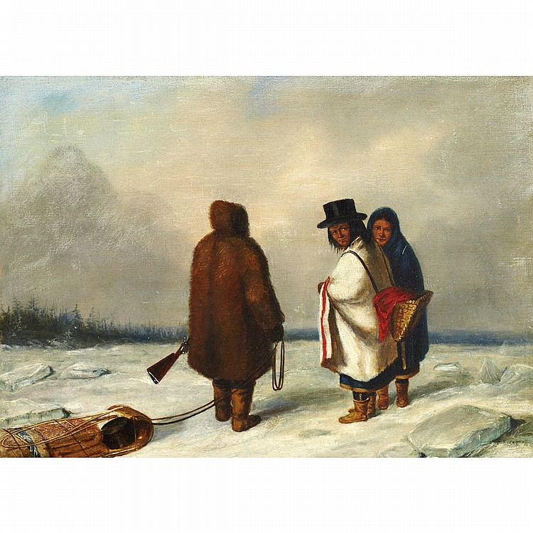 CORNELIUS KRIEGHOFFCAUGHNAWAGA INDIANS, WINTER, oil on canvas; signed 8.75 ins x 12.25 ins; 21.9 cms x 30.6 cms Provenance: Watson Art Galleries, Montreal.Private Collection, Ontario.Literature: Marius Barbeau,