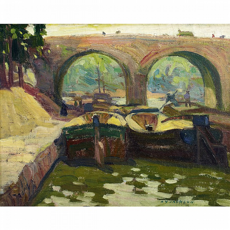 ALEXANDER YOUNG JACKSON, O.S.A., R.C.A.CANAL VIEW WITH BARGES, oil on canvas; signed 13 ins x 16 ins; 32.5 cms x 40 cms Provenance: Estate of Randolph Stanley Hewton.Private Collection, Ontario.Literature: Alexander Young Jackson,