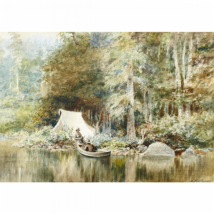 MARMADUKE MATTHEWS, O.S.A., R.C.A.TWO HUNTERS ENCAMPED AT THE WATER'S EDGE, watercolour; signed 20 ins x 28.5 ins; 50 cms x 71.3 cms  Provenance: Masters Gallery Ltd., Calgary.Private Collection, Vancouver.