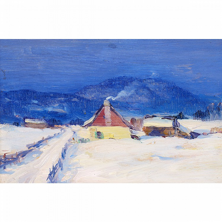 CLARENCE ALPHONSE GAGNON, R.C.A.RANG ST. LAURENT, BAIE ST. PAUL, oil on panel; certified by Lucile Rodier Gagnon (No.594) on the reverse 4.75 ins x 7 ins; 11.9 cms x 17.5 cms Provenance: Dominion Gallery, Montreal.Private Collection, Vancouver.Note: