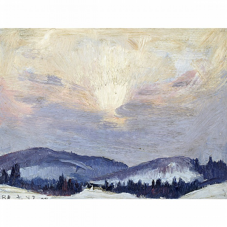 ROBERT WAKEHAM PILOT, P.R.C.A.WINTER SKY, QUEBEC, oil on panel; signed and dated '38 7 ins x 9.5 ins; 17.5 cms x 23.8 cms