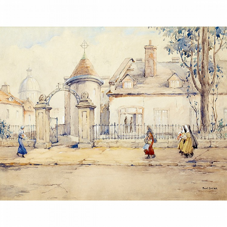 PAUL ARCHIBALD CARON, A.R.C.A.STREETSCAPE, QUEBEC, watercolour; signed 11.75 ins x 15.25 ins; 29.4 cms x 38.1 cms