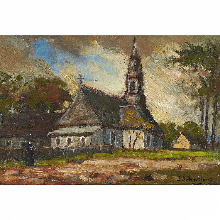 JOHN YOUNG JOHNSTONE, A.R.C.A.OLD CHURCH, POINTE-AUX-TREMBLES, oil on panel; signed 4.75 ins x 7 ins; 11.9 cms x 17.5 cms  Provenance: Canadian Fine Arts, Toronto.Private Collection, Toronto.